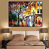 Quadro su Tela Poster di Paesaggi, Stampe Murali Pittura Ad Olio Immagini di Alberi di Strada, per La Decorazione Domestica della Stanza-50X70_Cm_No_Frame