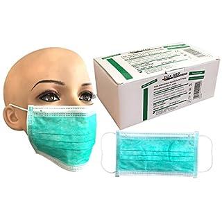Einmal OP Mundschutz Mundschutzmaske Mundschutzmasken OP Maske Masken Gesichtsmaske 99,5% Filtereff. grün Original Tiga-Med Qualität mit Gümmibändern, 3-lagig 50 Stück
