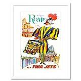 TRAVEL TOURISM ROME AIRLINE SWISS GUARD COLISEUM ITALY FRAMED ART PRINT B12X7981