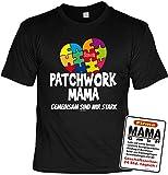 Mutter Geschenk-Set - Sprüche T-Shirt Mama + Sprüche Blechschild : Patchwork Mama gemeinsam sind wir stark & Mama GmbH - Deko Sprüche-Schild Mutter Gr: 3XL