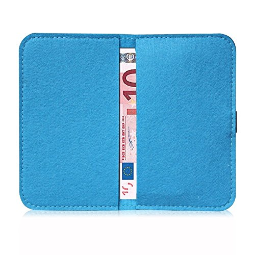 Filz Hülle Smartphone Tasche Cover Case Handy Flip Filztasche Kartenfach Etui, Farbe:Hell Grau;Für Handy Modell:Apple iPhone 6 Plus - 6s Plus Türkis