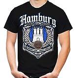 Für Immer Hamburg Männer und Herren T-Shirt | Sport Fussball HSV Dino Rothosen sv Stadt Fan (XL, Schwarz Druck: Bunt)