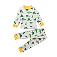 Webla Kids Toddler Girls Boys Tops+Pants Dinosaurs Home Sleepwear Pyjamas Set for 1-7 Years Old