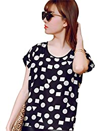 Bold N Elegant Women's Polychiffon Black & White Geometric Pattern Print Summer Casual Top T-Shirt