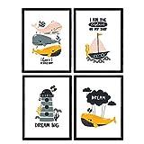 Pack de Cuatro Posters con Ilustraciones de Ballenas. Láminas con imágenes Infantiles de Ballenas. Ballenas Faro Marino Barco en el Fondo del mar. Tamaño A4 sin Marco