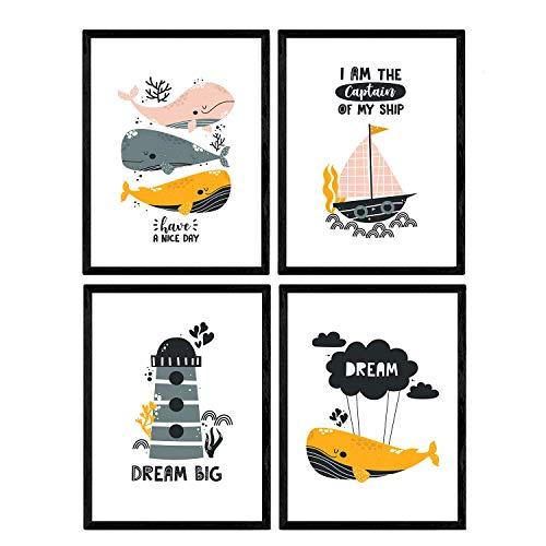 Pack de Cuatro Posters con Ilustraciones de Ballenas. Láminas con imágenes Infantiles...