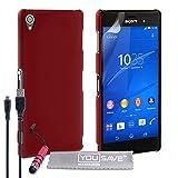 Yousave Accessories Coque Hybride avec Mini Stylet/Câble Micro USB pour Sony Xperia Z3 Rouge