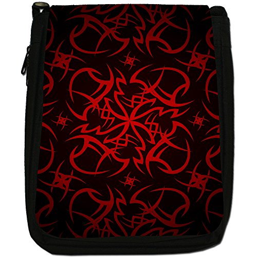 Tribale-Borsa a tracolla in tela, colore: nero, taglia: M Tribal Cult Tattoo - Red
