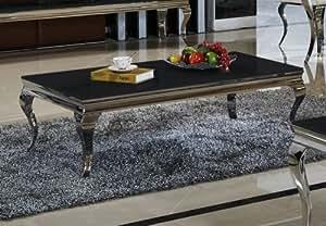 Table basse 70 x 130 x 42 noir motif aura design table de bureau style baroque en acier inoxydable et verre chromé/verre