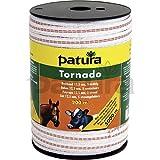 Patura Tornado Breitband 12,5 mm, 400 m Rolle 4 Niro 0,20mm, 1 Cu 0,30mm, weiss-orange