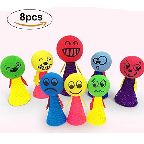 Reastar 8pcs Springbälle Emoji Puppen Hüpfball Kinder Jumping Spielzeug, Gastgeschenk Zum Kinder Geburtstag Kinderparty Garten Party