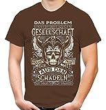 Schädel Seiner Feinde Männer und Herren T-Shirt | Wikinger Odin Sleipnir Germanen Walhalla Zitate ||| (XXL, Braun)