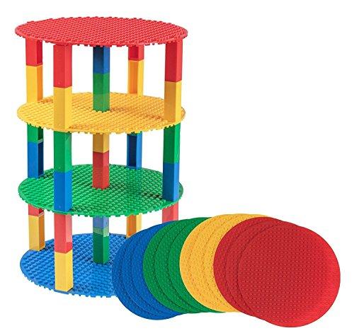 Strictly briks set da 12 basi circolari impilabili con 100 nuovi pilastri 2x2 - compatibili con tutte le principali marche - diametro 20,3 cm - blu, verde, rosso e giallo