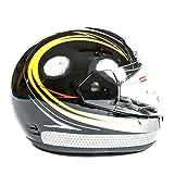 Integral casque pour moto/scooter Petite Full Face Moto casque avec visière Rabat avant, sangle de menton, doublure amovible, Top/Avant aération et coque de protection Noir/jaune