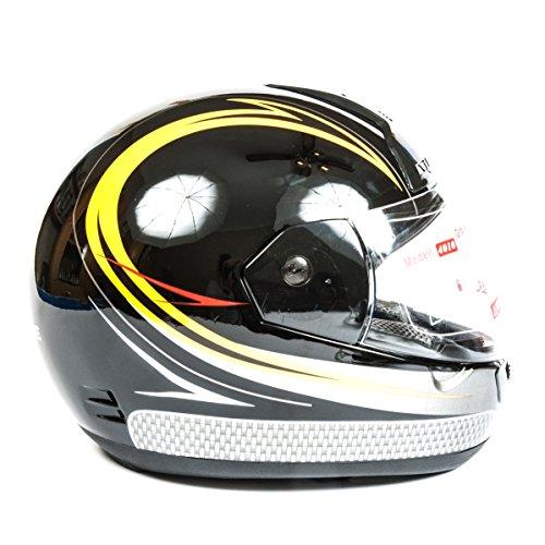 Casco integral para motocicleta o motocicleta con visera frontal, correa para la barbilla, forro extraíble, rejillas de ventilación delantera y cubierta protectora, negro/amarillo