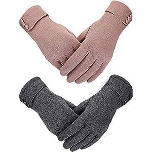 Sumind 2 Paar Damen Winterhandschuhe Warmer Plüsch gefüttert Winddicht Touchscreen Handschuhe für Damen und Mädchen Gr. One size, grau