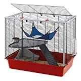 Ferplast comfortable ferret and mice cage FURAT, two-storey structure with accessories included, reinforced corner, Red, 78 x 48 x h 70 cm