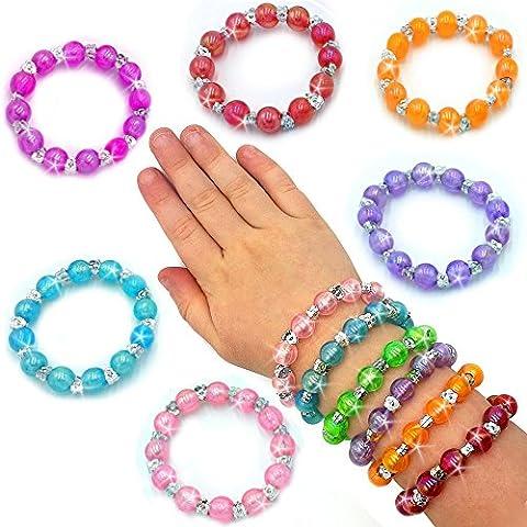 German Trendseller® - 12 x bracelets avec petits perles fantaisie┃bijoux pour filles┃mélange de couleurs┃petit cadeau┃l'anniversaire d'enfant┃12 psc