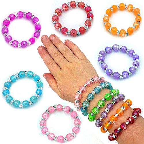 German Trendseller® - 6 x bracelets avec petits perles fantaisie?bijoux pour filles?mélange de couleurs?petit cadeau?l'anniversaire d'enfant?6 psc