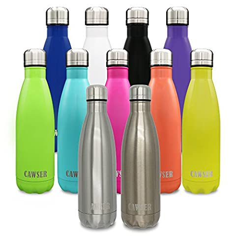 CAWSER Insulated Stainless Steel Water Vacuum Bottle Double-walled for Outdoor Sports Hiking Running , Keep Hot and Cold 12-24 Hours, 500ml/17 oz,Siliver