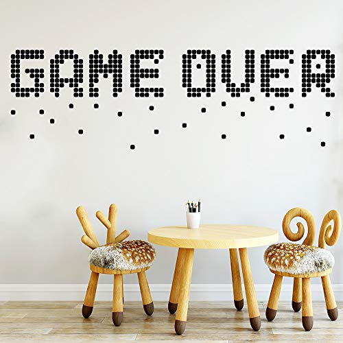 WWYJN Interesting Game Over Wall Sticker Removable DIY Wallpaper Vinyl Stickers House Decoration for Kids Room Decor White L 20cm X 65cm