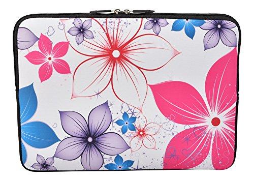 MySleeveDesign Laptoptasche Notebooktasche Sleeve für 10,2 Zoll / 11,6-12,1 Zoll / 13,3 Zoll / 14 Zoll / 15,6 Zoll / 17,3 Zoll - Neopren Schutzhülle mit VERSCH. DESIGNS - Pink Flowers [14]