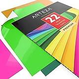 Arteza 22 Feuilles De Vinyle Thermocollant Premium Couleurs Assortis Transfert De Chaleur 25,4 X 30,5 Cm - Permanent HTV - Fer Sur Vinyle (Boite De 22 Couleurs)