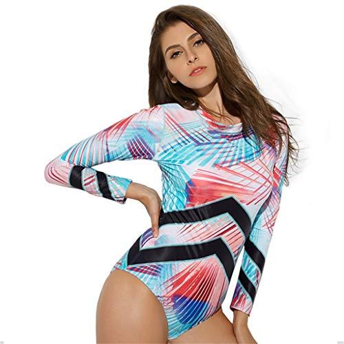 g Surfanzug Damen Sommer Ttenfärben Schwimmanzug Neoprenanzug Modisch Sonnencreme Schnelltrocknend Schnorcheln Einteiler Bademode(X1-Mehrfarbig,S) ()