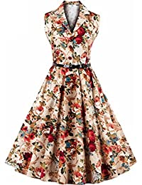 KaloryWee Women Vintage Sleeveless Halter Evening Party Prom Swing Dress