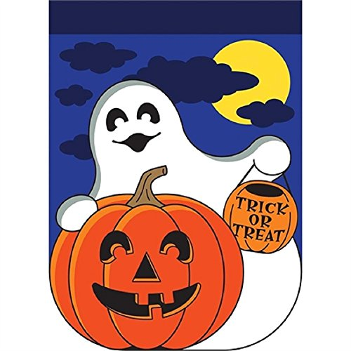 ter Kürbis mit Mond Himmelblau 18 x 13 Polyester Halloween Outdoor Flagge ()