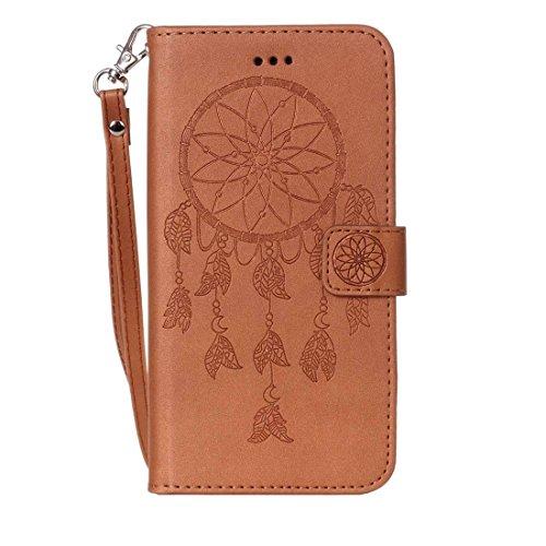 GR Für iPhone 7 Plus Crazy Pferd PU Leder Textur Dream Catcher Druck Horizontal Flip Case mit Halter & Card Slots & Wallet & Lanyard ( Color : Pink ) Brown
