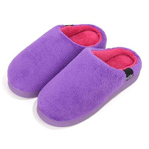 Herren Damen Winter Slipper Coral Fleece Indoor Schuhe Lila