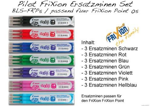 PILOT Tintenroller FRIXION ERSATZMINEN-SET für FriXion Point 05, 7 x 3er Sets Minen in allen Farben: blau, schwarz, rot, grün, pink, violett, hellblau (Frixion Point-minen)