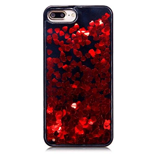 Coque iphone 6S Flüssigem,Luxe Coque iPhone 6,iphone 6 / 6S Bling Bling Gliter Sparkle Housse,Ekakashop Creative 3D Motif Grand Amour Noir Rose Dual Layer Transparente Clair Cristal Clear étui Shiny B Grand Amour Noir Rouge