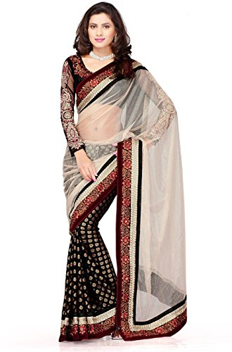Janasya Women's Beige Net Saree (JNE0883)  available at amazon for Rs.659