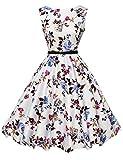 Multicolor Vestido Blanco Azul Rosado Patrón Estampado Tallas Grandes 1 22#