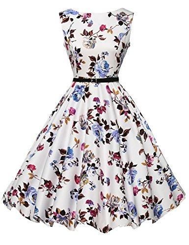 Femme Robe Florale au Genou Sans Manche Robe Princesse Taille M YF6086-22 - Floral-22 - Medium