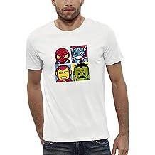 PIXEL EVOLUTION Camiseta 3D 4 Super Heroes EN Realidad Aumentada Hombre