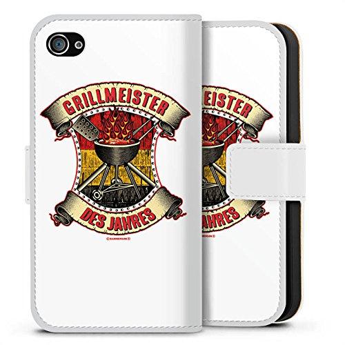 Apple iPhone X Silikon Hülle Case Schutzhülle BBQ Grillmeister Grillsaison Sommer Sideflip Tasche weiß