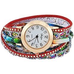 SSITG Women Quartz Wrap Bracelet Wristwatch Analog Watch Retro Flowers