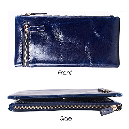 Artemis'Iris Multi Card Slot Cera lusso corsa del cuoio genuino della frizione cerniera portafoglio Phone Holder Cards borsa dei soldi a lungo per le donne Lady, blu blue
