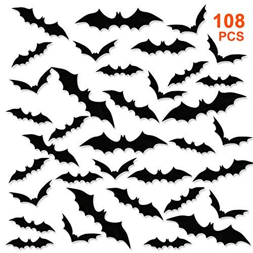 GWHOLE 108 Pezzi Adesivi da Parete 3D Kit Accessori Halloween Pipistrelli Forniture della Festa Halloween per Decorazione della Parete Finestra Domestica