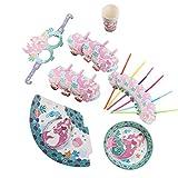Amosfun 36 piezas de la fiesta de cumpleaños de la sirena suministros de papel pajitas copas y platos fiesta gafas de sol sombreros silbatos sirena temática fiesta de cumpleaños favores