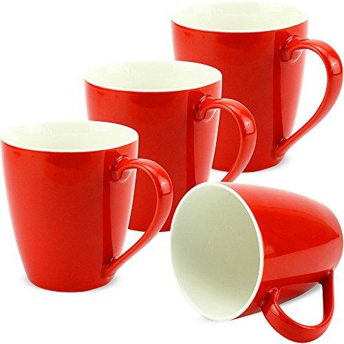 matches21 Tassen Becher Kaffeetassen Kaffeebecher Unifarben/einfarbig rot Porzellan 4 Stk. 10 cm/350...