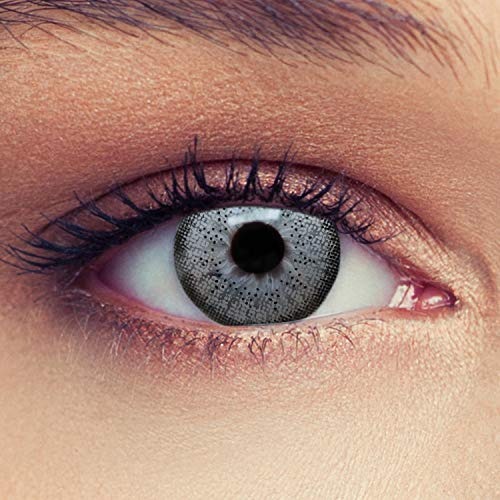 """Designlenses 2 Graue Kontaktlinsen mit Stärke farbige Drei Monatslinsen für einen natürlichen Effekt, geeignet für dunkle Augen + Gratis Behälter""""Natural Grey"""" -0,50"""