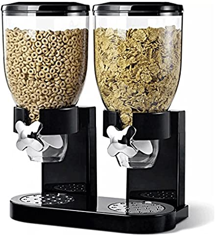 Double Plastic Classic Dry Food Cereal Dispenser Double Canister, White Transparent (Black)