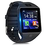 Smartwatch con Podómetro, Reloj Inteligente Android con Cámara TF/Ranura de Tarjeta SIM Notificación de Mensaje, Reloj de Fitness con Cronómetros (Negro)