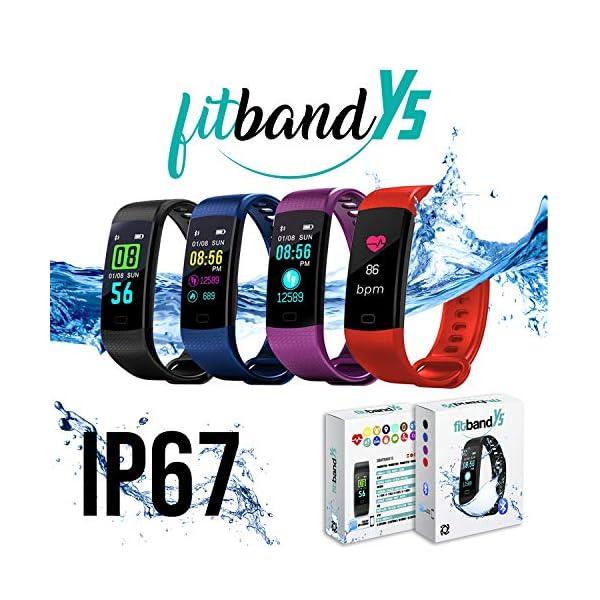 Pulsera de Actividad Inteligente FitBand cRadia con pantalla táctil, pulsómetro láser, monitor de Frecuencia Cardíaca HR, Podómetro, resistente al agua con protección IP67, contador de pasos y monitor de Sueño para Android y iPhone 1