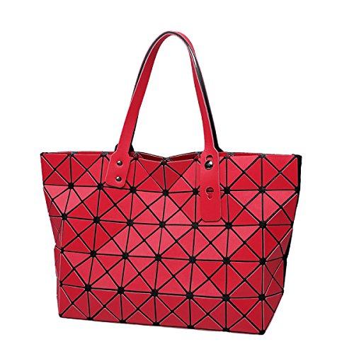 Damen Lingge Umhängetasche Geometrische Tasche Handtasche Gefaltet Red