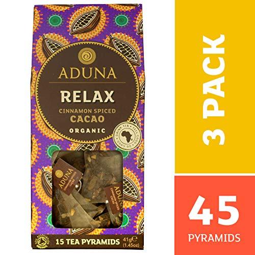 Afrikanischer Kakao (Aduna Relax African Super Tee mit Bio, Zimt gewürzter Kakao - 15 Silk Pyramid Teebeutel (Packung mit 3))